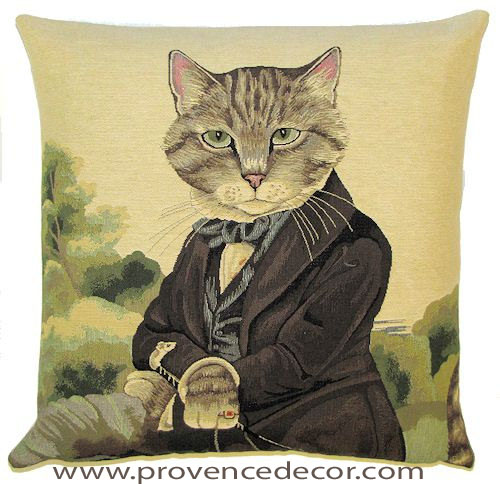 Cat Sir Ludwig European Belgian Tapestry Throw Pillow