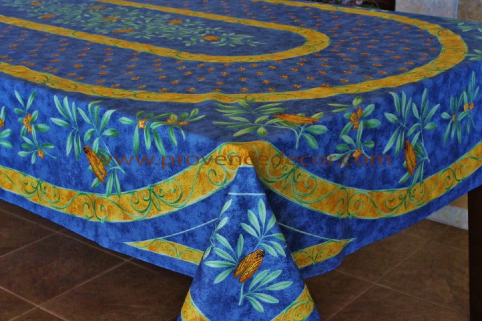 Cigale Blue Printed Cotton French Provence Tablecloths