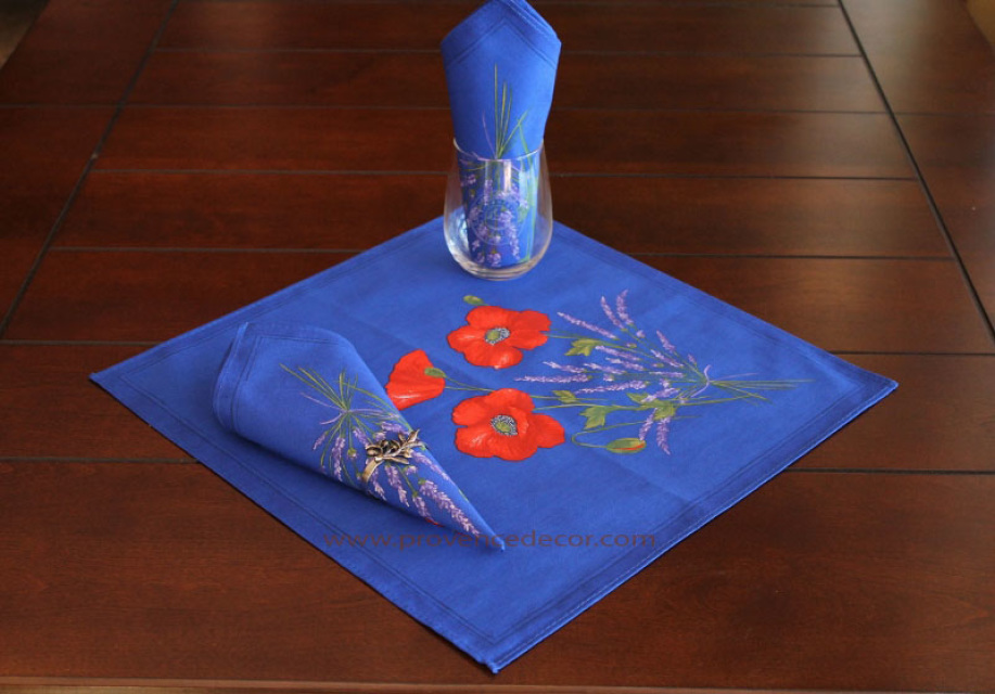 Poppy Lavender Blue Cotton Coated French Provence