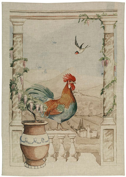French Country Provence Rooster Linen Dishtowels