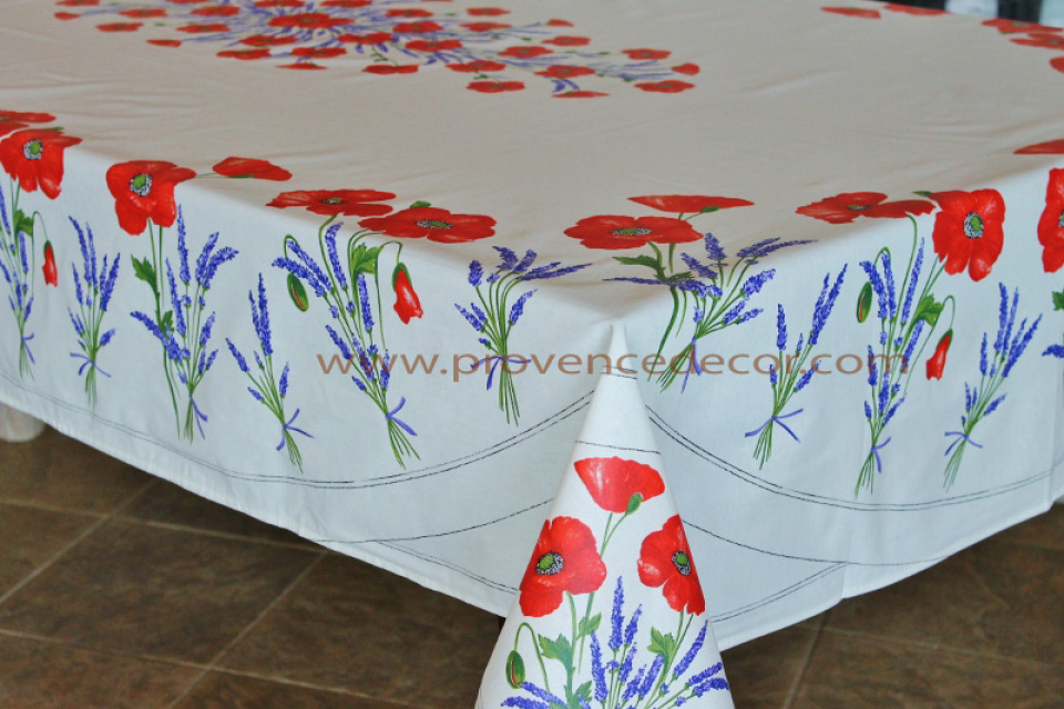 French Provence Poppy Lavender White Acrylic Coated