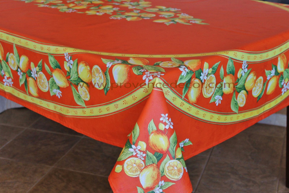 French Provence Lemon Orange Acrylic Coated Tablecloth