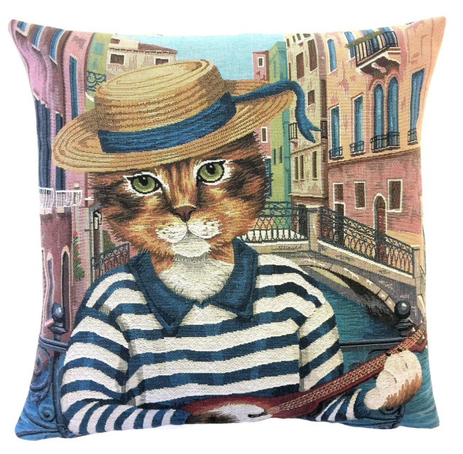 Cat Venice Gondola Ride Authentic European Belgian Tapestry Decorative Throw Pillow Cases Tour Venice Canals Travel Italy Cat Lovers Cushion Covers Cat Art Pillow Cover Tourist Venice Gifts
