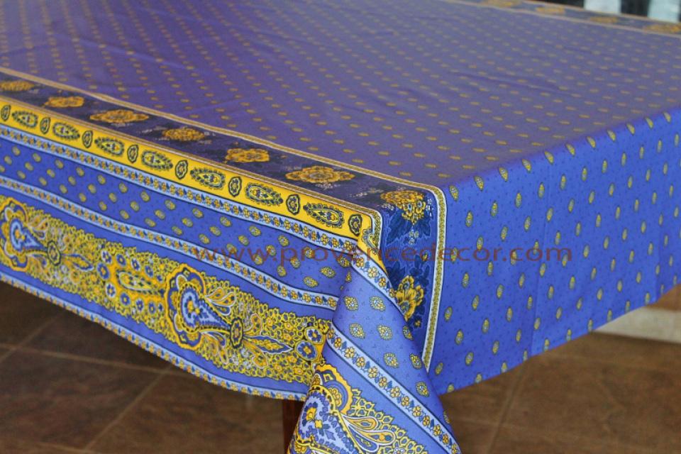 French Provence Bastide Blue Yellow Acrylic Coated