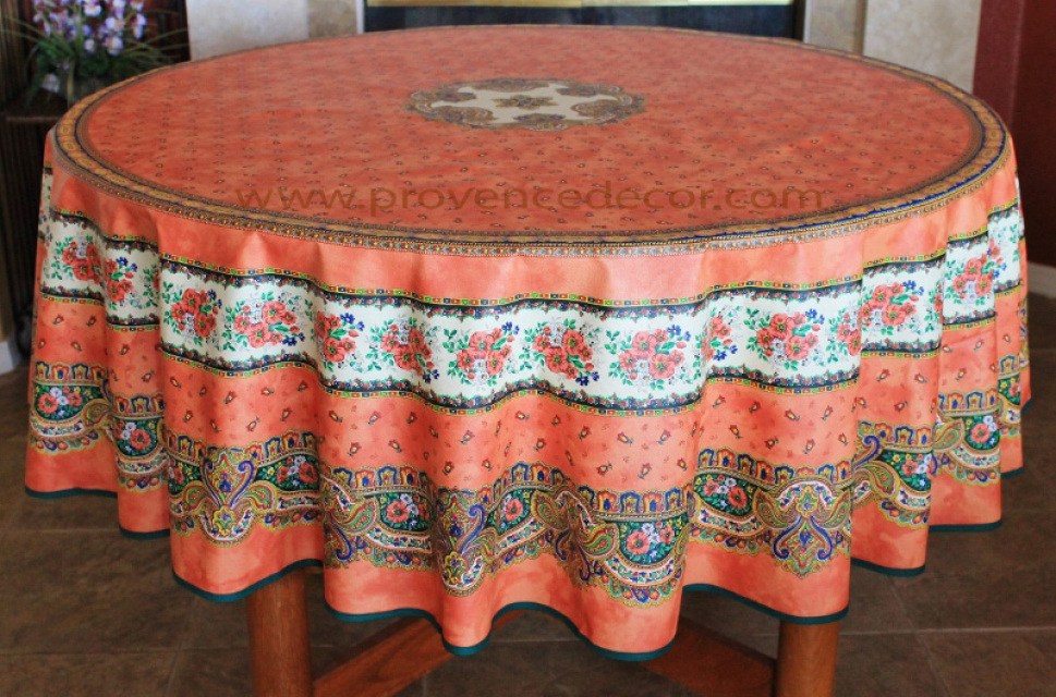 French Provence Tradition Salmon Acrylic Coated Tablecloth