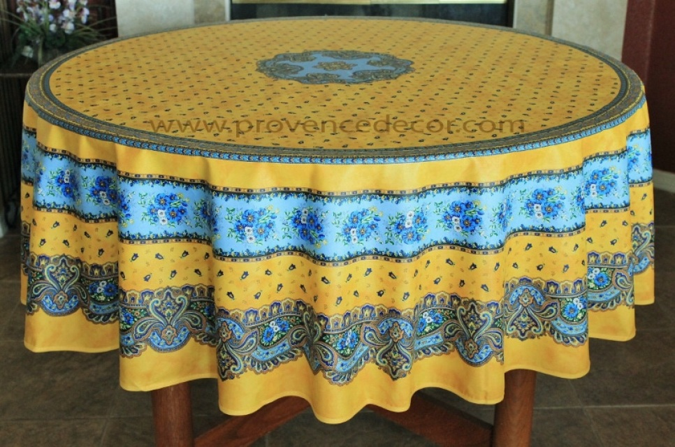French Provence Tradition Yellow Acrylic Coated Tablecloth