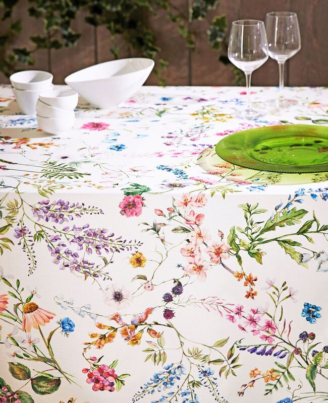 French Oilcloth, acrylic coated, spill proof wipe off tablecloths