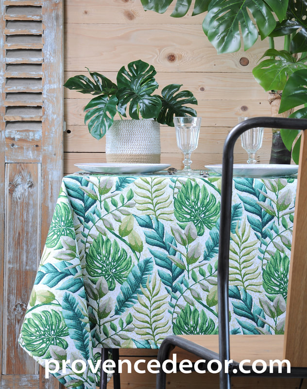 AMAZON NATURE Trendy Forest Fern Palm Green Leaves Acrylic Cotton Coated Table cloths - French Oilcloth Spill Proof Easy Wipe Off Fabric - In/Outdoor Decorative Party Table Decor - Elegant Zen Garden Design Home Decor