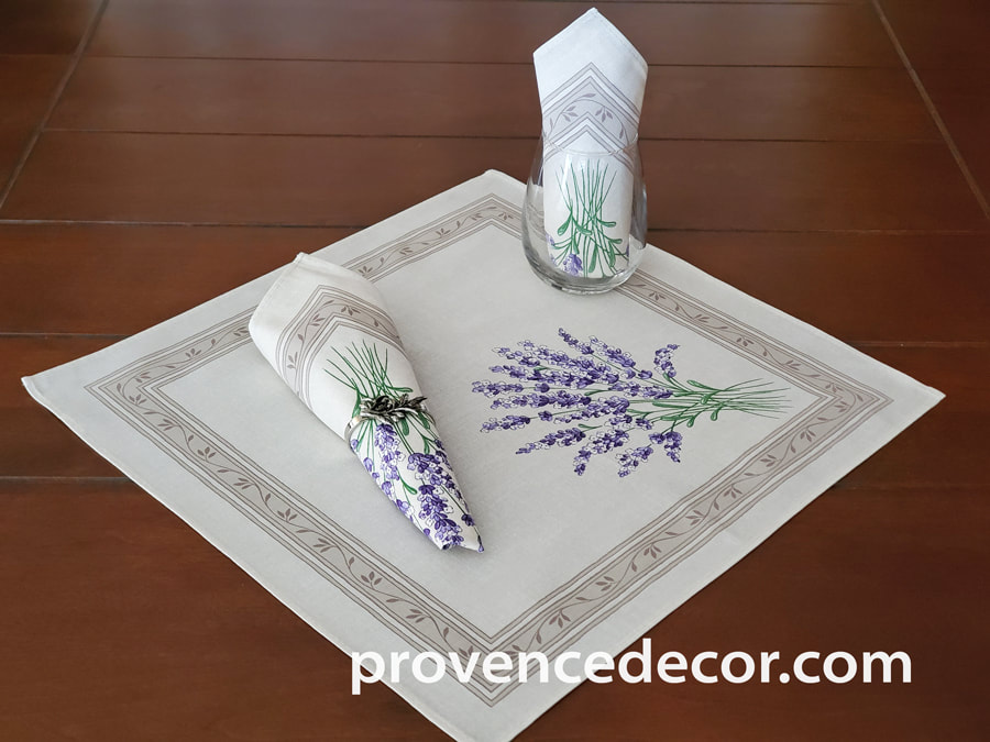 LAVENDER BEIGE French Decorative Napkin Set - High Quality Absorbent Soft Printed Cotton - French Country Design - Spring Summer Flowers Table Home Decor Gifts