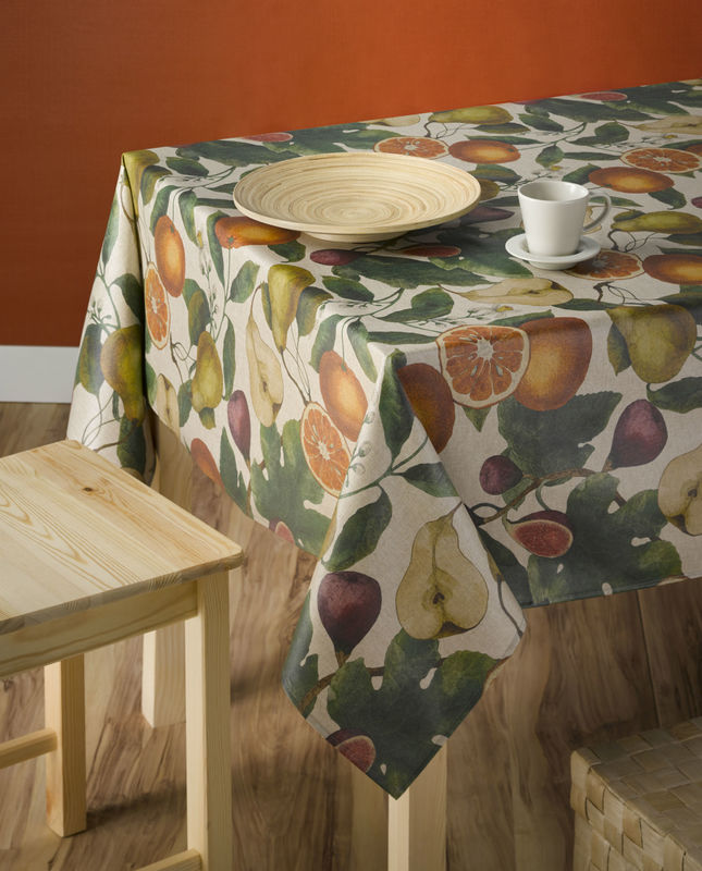 LES FRUITS Acrylic Coated French Marche Provence Tablecloth - French Oilcloth Indoor Outdoor Fruits Table Decor - Water and Stain Resistant Farmers Market Tablecloths - Elegant French Country Home Decor Gifts