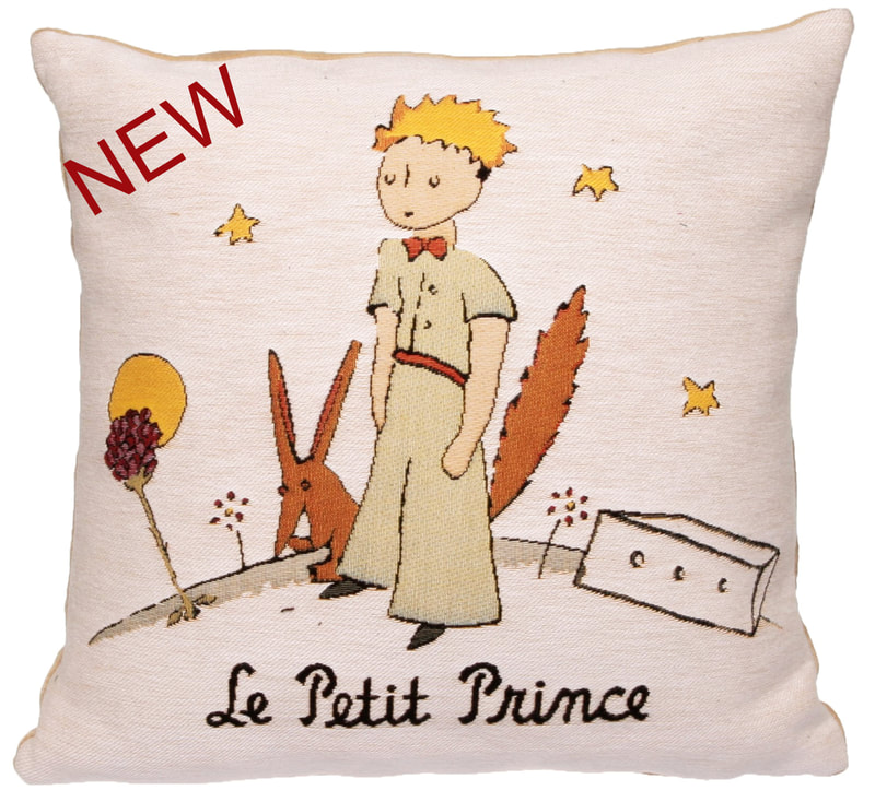 THE LITTLE PRINCE PLANET Authentic European Tapestry Decorative Throw Pillow Cases - Le Petit Prince Jacquard Woven 18 X 18 Cushion Covers - Little Prince Antoine de Saint-Exupéry Art Lovers Gift - Famous Art Gallery Gifts Home Decor