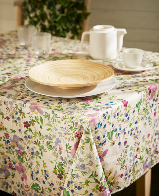 LUANA French Country Wild Flowers Rectangle Table cloths - French Oilcloth Cotton Coated Easy Wipe Off Fabric - Indoor Outdoor Party Tablecloth - Elegant Nature Flowers Home Decor