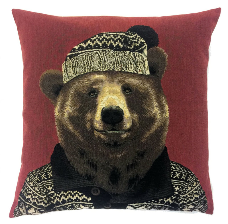 MOUNTAIN GRIZZLY BEAR RED Belgian Tapestry Throw Pillow Cases - Decorative 18 X 18 Square Pillow Covers - Zippered Throw Pillow Case - Jacquard Woven Belgium Tapestry Cushion Covers - Fun Forest Animals Throw Cushions - Mountain House Forest Bear Home Decor Gifts