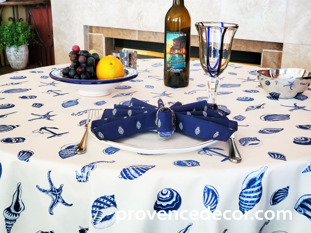 NAUTICA NAVY Acrylic Cotton Coated Table cloths - French Oil cloth Spill Proof Easy Wipe Off Party Tablecloths - Ocean Beach Lovers Indoor Outdoor Party Table Cover - Beach Resort Home Decor Gifts