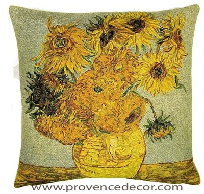 "The SUNFLOWERS Tapestry Cushion is a replica of Van Gogh's famous artwork in Tapestry. The details are exquisite, looks like a real painting!. These gorgeous Jacquard Tapestry Throw Pillow Cases are the authentic GOBELIN Tapestry woven with 100% high quality cotton, lined with a soft beige velvet backing and close with a zipper. Size 18"" X 18"""