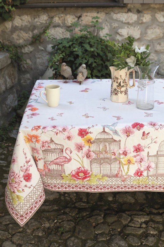 TROPICANA PINK WHITE French Provence Jacquard Woven Tapestry Tablecloths - Elegant Rectangle Tablecloth - Square Table Topper Couch Throw - French Home Decor
