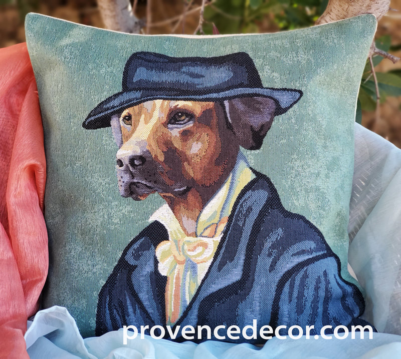 VAN GOGH YELLOW LABRADOR PORTRAIT Authentic European Tapestry Throw Pillow Case - Van Gogh Dog Art Decorative Pillow Covers - Museum Art Dog Decor Lovers Cushion Covers - Art in Tapestry Home Decor Gifts