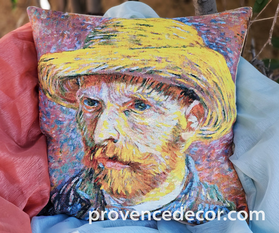 VAN GOGH SELF PORTRAIT Jacquard Woven Gobelin Tapestry Throw Pillow Cases - Van Gogh Art Lovers Decorative Cushion Covers - Famous Art Gallery Gifts Home Decor
