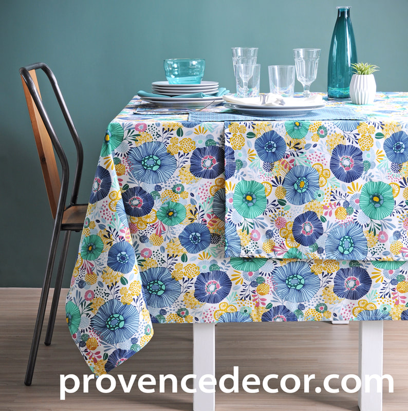 VICTORIA FLORAL Acrylic Cotton Coated French Provence Table cloths - French Oil cloth Spill Proof Easy Wipe Off Party Tablecloths - Nature Gardening Flower Lovers Indoor Outdoor Table Decor - Elegant French Country Home Decor Gifts