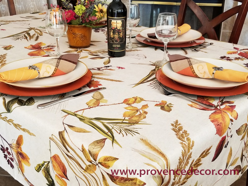 FALL NATURE Cotton Coated Rectangle Tablecloth - French Oilcloth Spill Proof Wipe Off Indoor Outdoor Cloth - Autumn Fall Halloween Thanksgiving Party Table Decor