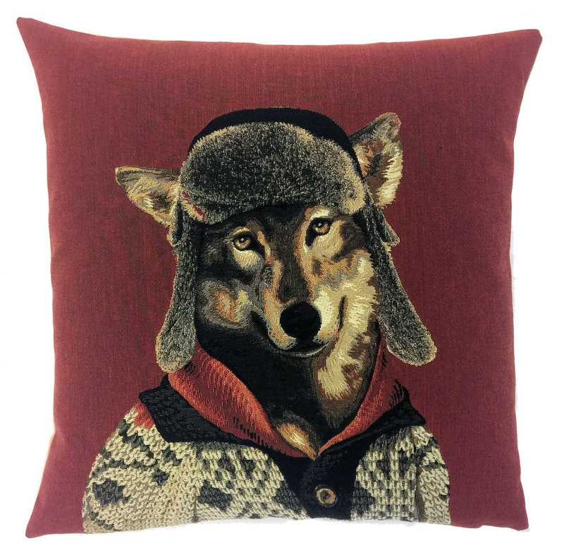 MOUNTAIN WOLF RED Belgian Tapestry Throw Pillow Cases - Decorative 18 X 18 Square Pillow Covers - Zippered Throw Pillow Case - Jacquard Woven Belgium Tapestry Cushion Covers - Fun Forest Animals Throw Cushions - Mountain House Forest Wolf Home Decor Gifts