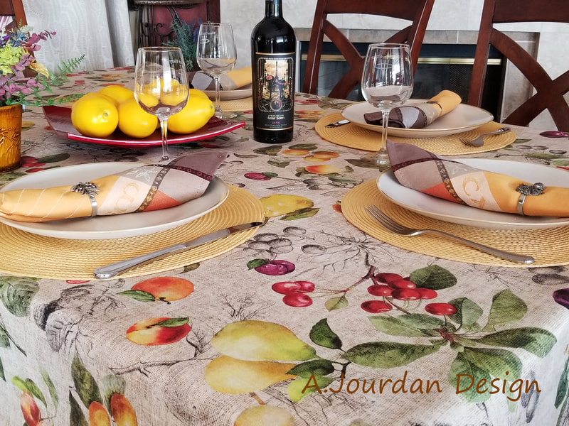 PROVENCE HARVEST Wild Fruits Berries Cotton Coated Rectangle Tablecloth - French Oilcloth Spill Proof Wipe Off Indoor Outdoor Party Tablecloths - French Country Farm House Decor