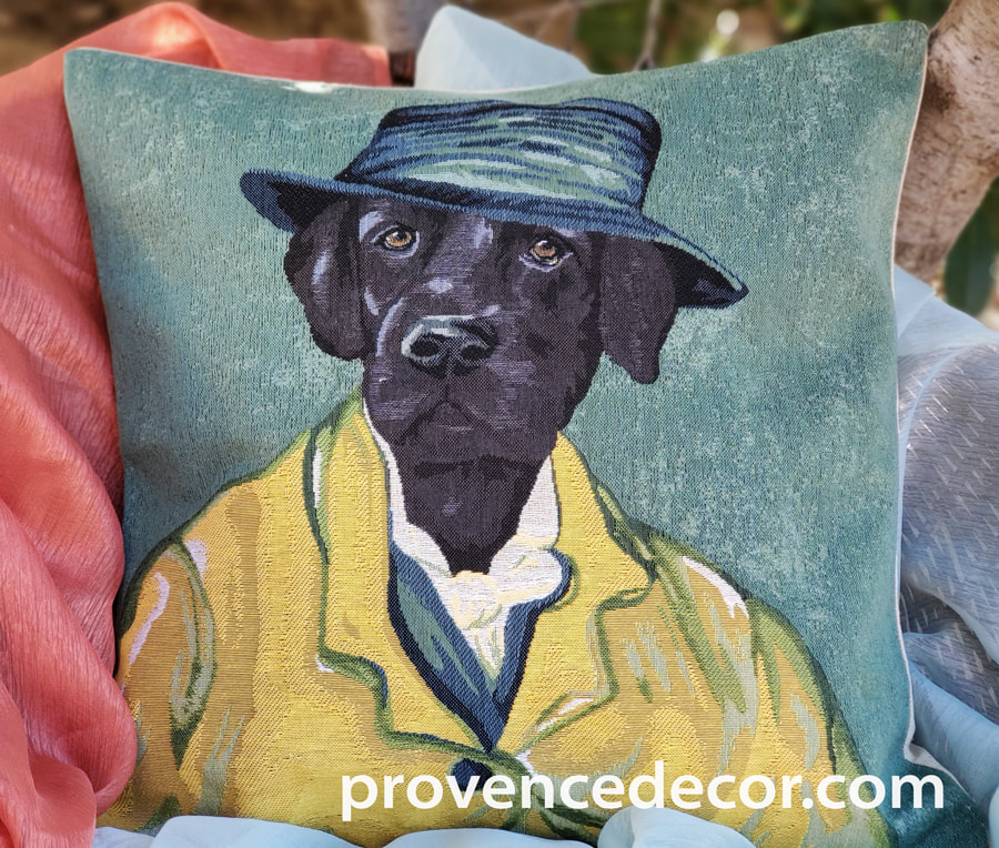 VAN GOGH BLACK LABRADOR PORTRAIT Authentic European Tapestry Throw Pillow Case - Van Gogh Dog Art Decorative Pillow Covers - Museum Art Dog Decor Lovers Cushion Covers - Art in Tapestry Home Decor Gifts