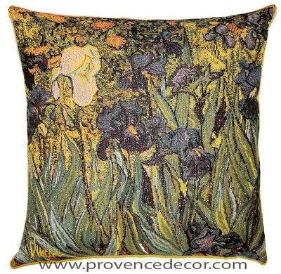 "The IRISES Tapestry Cushion is a replica of Van Gogh's famous artwork in Tapestry. The details are exquisite, looks like a real painting!​ These gorgeous Jacquard Tapestry Throw Pillow Cases are the authentic GOBELIN Tapestry woven with 100% high quality cotton, lined with a soft beige velvet backing and close with a zipper. Size: 18"" X 18"""