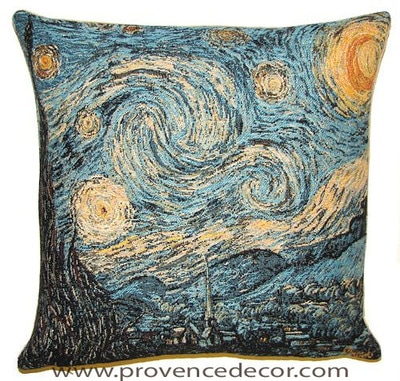 "The STARRY NIGHT Tapestry Cushion is a replica of Van Gogh's famous artwork in Tapestry. The details are exquisite, looks like a real painting. These gorgeous Jacquard Tapestry Throw Pillow Cases are the authentic GOBELIN Tapestry woven with 100% high quality cotton, lined with a soft beige velvet backing and close with a zipper. Perfect gift for any occasion. Size: 18"" X 18"""