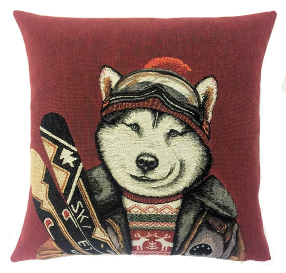 WOLF SKI Authentic European Belgian Tapestry Throw Pillow Cases - Decorative Pillow Covers - Zippered Throw Pillow Case - Wolf and Ski Decor Cushion Covers - Forest Animals Lovers Gift - Vintage Ski Mountain Home Decor