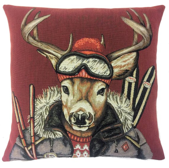 DEER VINTAGE SKI Authentic European Belgian Tapestry Throw Pillow Cases - Decorative Pillow Covers - Zippered Throw Pillow Case - Deer and Ski Decor Cushion Covers - Forest Animals Stag Lovers Gift - Antique Ski Mountain Home Decor