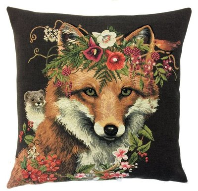 FOX AND HAMSTER European Belgian Tapestry Throw Pillow Cases - Decorative Pillow Covers - Zippered Throw Pillow Case - Forest Animals Cushion Covers - Fox Home Decor Gift - Fun Forest Animals Lovers Cushion Covers Decor - Fox Lovers Belgium Tapestry Throw Pillowcases - Rustic Decor Gifts - Fun Forest Animal Cushion Covers - Mountain House Decor