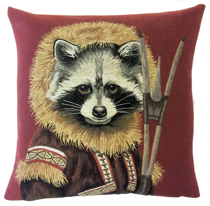 RACOON ESKIMO Belgian Tapestry Throw Pillow Cases - Decorative 18 X 18 Square Pillow Covers - Zippered Throw Pillow Case - Jacquard Woven Belgium Tapestry Cushion Covers - Fun Forest Animals Throw Cushions - Mountain House Forest Racoon Home Decor Gifts