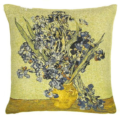 "The IRISES VASE Tapestry Cushion is a replica of Van Gogh's famous artwork in Tapestry. The details are exquisite, looks like a real painting!. These gorgeous Jacquard Tapestry Throw Pillow Cases are the authentic GOBELIN Tapestry woven with 100% high quality cotton, lined with a soft beige velvet backing and close with a zipper. Size: 18"" X 18"""