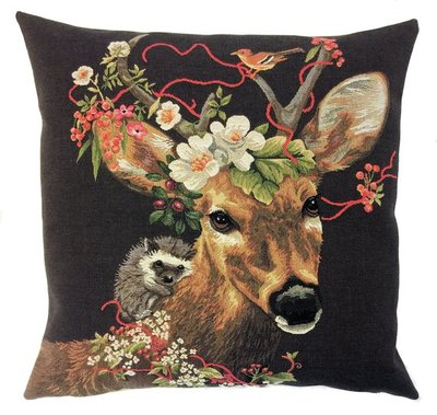 DEER AND HEDGEHOG European Belgian Tapestry Throw Pillow Cases - Decorative Pillow Covers - Zippered Throw Pillow Case - Forest Animals Cushion Covers - Stag Home Decor Gift - Fun Forest Animals Lovers Cushion Covers Decor - Stags Lovers Belgium Tapestry Throw Pillowcases - Rustic Decor Gifts - Fun Forest Animal Cushion Covers - Mountain House Decor