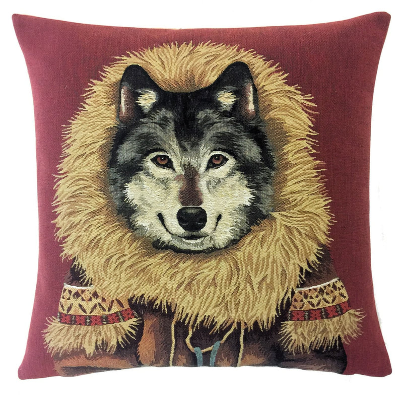 WOLF ESKIMO Tapestry Throw Pillow Cases - Decorative 18 X 18 Square Pillow Covers - Zippered Throw Pillow Case - Jacquard Woven Tapestry Cushion Covers - Fun Forest Animals Throw Cushions - Mountain House Forest Wolf Home Decor Gifts