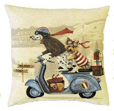 DOGS DALMATIAN AND YORKSHIRE TERRIER ON BLUE VESPA - SCOOTER European Belgian Tapestry Throw Pillow Cases - Decorative 18 X 18 Pillow Covers - Zippered Throw Pillow Case - Jacquard Woven Belgium Tapestry Cushion Covers - Fun Dressed Dog Throw Cushions - Dog Lover Gift - Antique Classic Motorcycles Home Decor