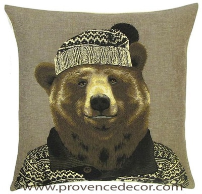 MOUNTAIN GRIZZLY BEAR DOG CHIHUAHUA PORTRAIT Belgian Tapestry Throw Pillow Cases - Decorative 18 X 18 Square Pillow Covers - Zippered Throw Pillow Case - Jacquard Woven Belgium Tapestry Cushion Covers - Fun Forest Animals Throw Cushions - Mountain House Forest Bear Home Decor Gifts