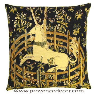 "The UNICORN IN CAPTIVITY Tapestry Cushion Cover is a replica of the famous series of The Lady and the Unicorn artwork in Tapestry. The details are exquisite, looks like the original ones. These gorgeous Jacquard Tapestry Throw Pillow Cases are the authentic GOBELIN Tapestry woven with 100% high quality cotton, lined with a soft beige velvet backing and close with a zipper. Size: 18"" X 18"""