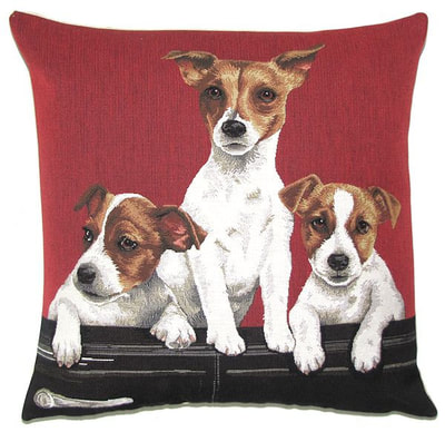 "DOGS JACK RUSSELL PUPPIES IN VINTAGE CAR Tapestry Pillow Covers are woven on a Jacquard loom (crafted with true traditional tapestry technique) with 100% high quality cotton thread, lined with a plain beige cotton backing and close with a zipper. Size: 18"" X 18"""