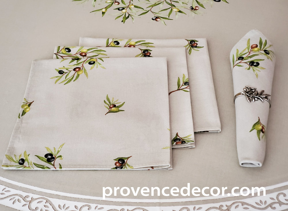 PETITE OLIVE TAUPE ALLOVER French Decorative Napkin Set - High Quality Absorbent Soft Printed Cotton - French Country Olive Branch Design Table Home Decor Gifts