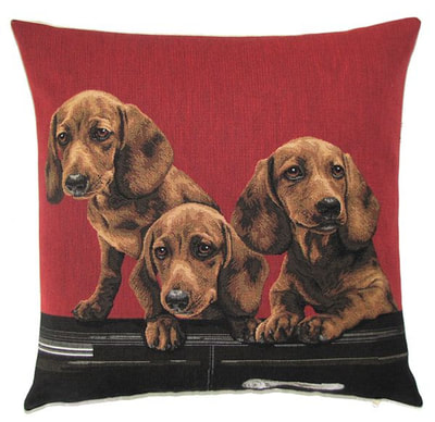 "DOGS SPANIEL PUPPIES IN VINTAGE CAR Tapestry Pillow Covers are woven on a Jacquard loom (crafted with true traditional tapestry technique) with 100% high quality cotton thread, lined with a plain beige cotton backing and close with a zipper. Size: 18"" X 18"""