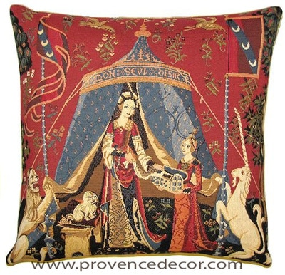 "The MY ONLY DESIRE Tapestry Cushion Cover is a replica of the famous series of The Lady and the Unicorn artwork in Tapestry. The details are exquisite, looks like the original ones. These gorgeous Jacquard Tapestry Throw Pillow Cases are the authentic GOBELIN Tapestry woven with 100% high quality cotton, lined with a soft beige velvet backing and close with a zipper. Size: 18"" X 18"""