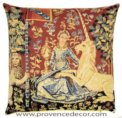 "The SIGHT Tapestry Cushion Cover is a replica of the famous series of The Lady and the Unicorn artwork in Tapestry. The details are exquisite, looks like the original ones. These gorgeous Jacquard Tapestry Throw Pillow Cases are the authentic GOBELIN Tapestry woven with 100% high quality cotton, lined with a soft beige velvet backing and close with a zipper. Size: 18"" X 18"""