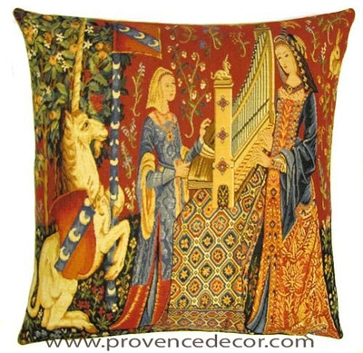 "The HEARING Tapestry Cushion Cover is a replica of the famous series of The Lady and the Unicorn artwork in Tapestry. The details are exquisite, looks like the original ones. These gorgeous Jacquard Tapestry Throw Pillow Cases are the authentic GOBELIN Tapestry woven with 100% high quality cotton, lined with a soft beige velvet backing and close with a zipper. Size: 18"" X 18"""
