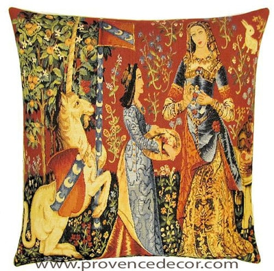 "The SMELL Tapestry Cushion Cover is a replica of the famous series of The Lady and the Unicorn artwork in Tapestry. The details are exquisite, looks like the original ones. These gorgeous Jacquard Tapestry Throw Pillow Cases are the authentic GOBELIN Tapestry woven with 100% high quality cotton, lined with a soft beige velvet backing and close with a zipper. Size: 18"" X 18"""