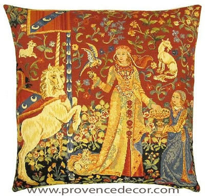 "The TASTE Tapestry Cushion Cover is a replica of the famous series of The Lady and the Unicorn artwork in Tapestry. The details are exquisite, looks like the original ones. These gorgeous Jacquard Tapestry Throw Pillow Cases are the authentic GOBELIN Tapestry woven with 100% high quality cotton, lined with a soft beige velvet backing and close with a zipper. Size: 18"" X 18"""