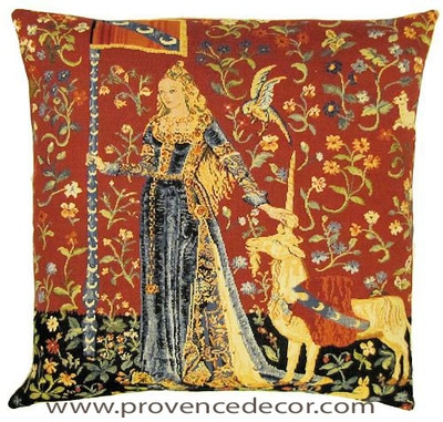 "The TOUCH Tapestry Cushion Cover is a replica of the famous series of The Lady and the Unicorn artwork in Tapestry. The details are exquisite, looks like the original ones. These gorgeous Jacquard Tapestry Throw Pillow Cases are the authentic GOBELIN Tapestry woven with 100% high quality cotton, lined with a soft beige velvet backing and close with a zipper. Size: 18"" X 18"""