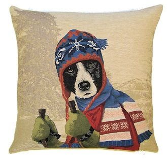 DOG SKIER BORDER COLLIE BLUE European Belgian Tapestry Throw Pillow Cases - Decorative 18 X 18 Square Pillow Covers - Zippered Throw Pillow Case - Jacquard Woven Belgium Tapestry Cushion Covers - Fun Dressed Dog Throw Cushions - Dog Lover Gift - Antique Classic Vintage Ski Home Decor