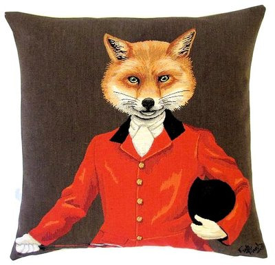 "LORD FOX WITH HAT BROWN Tapestry Pillow Covers are woven on a Jacquard loom (crafted with true traditional tapestry technique) with 100% high quality cotton thread, lined with a plain beige cotton backing and close with a zipper. Size: 18"" X 18"""